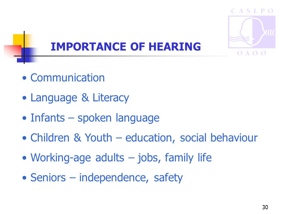 30 IMPORTANCE OF HEARING Communication Language & Literacy Infants – spoken language Children & Youth – education, social behaviour Working-age adults – jobs, family life Seniors – independence, safety