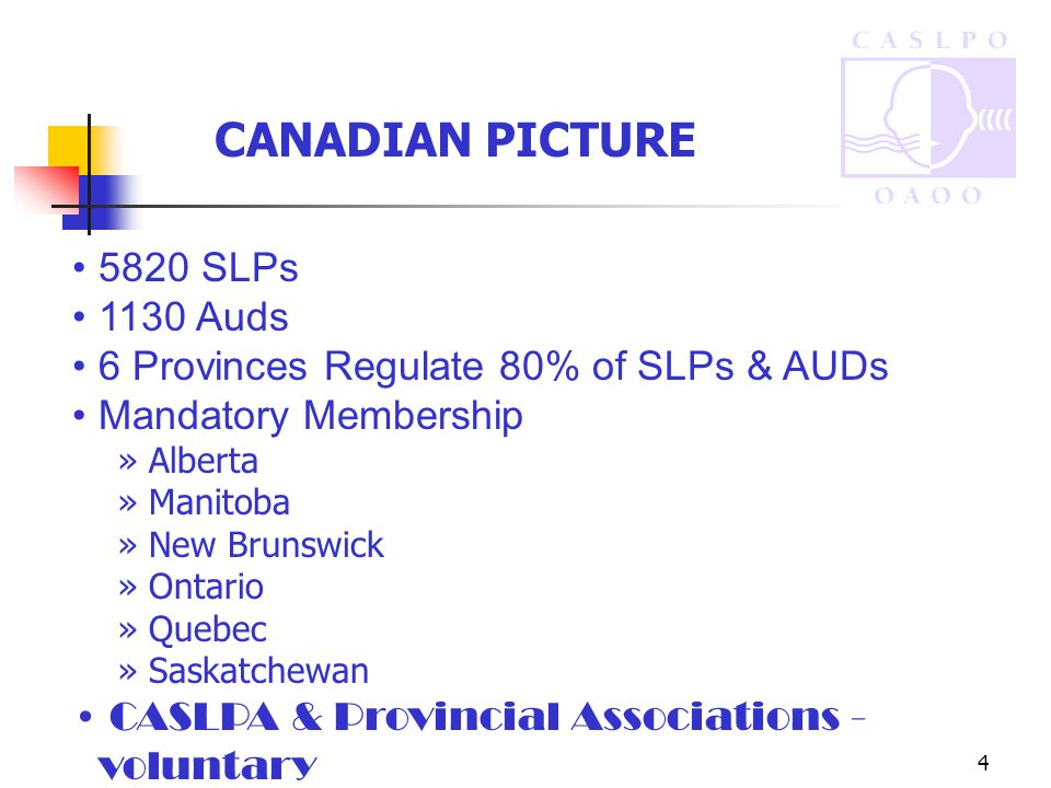 4 5820 SLPs 1130 Auds 6 Provinces Regulate 80% of SLPs & AUDs Mandatory Membership » Alberta » Manitoba » New Brunswick » Ontario » Quebec » Saskatchewan CASLPA & Provincial Associations - voluntary CANADIAN PICTURE