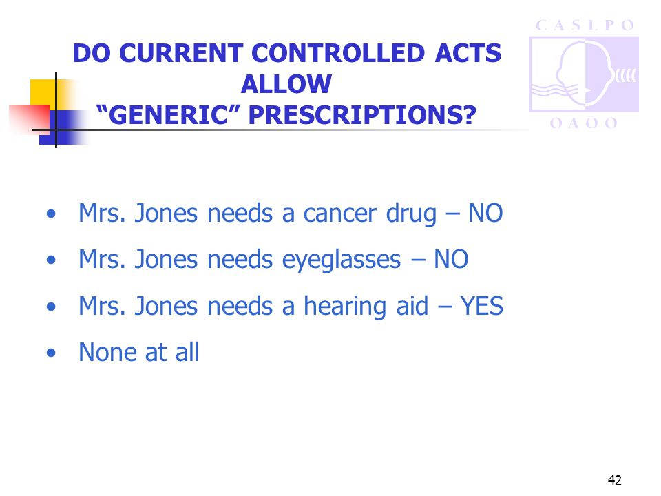 42 DO CURRENT CONTROLLED ACTS ALLOW GENERIC PRESCRIPTIONS.