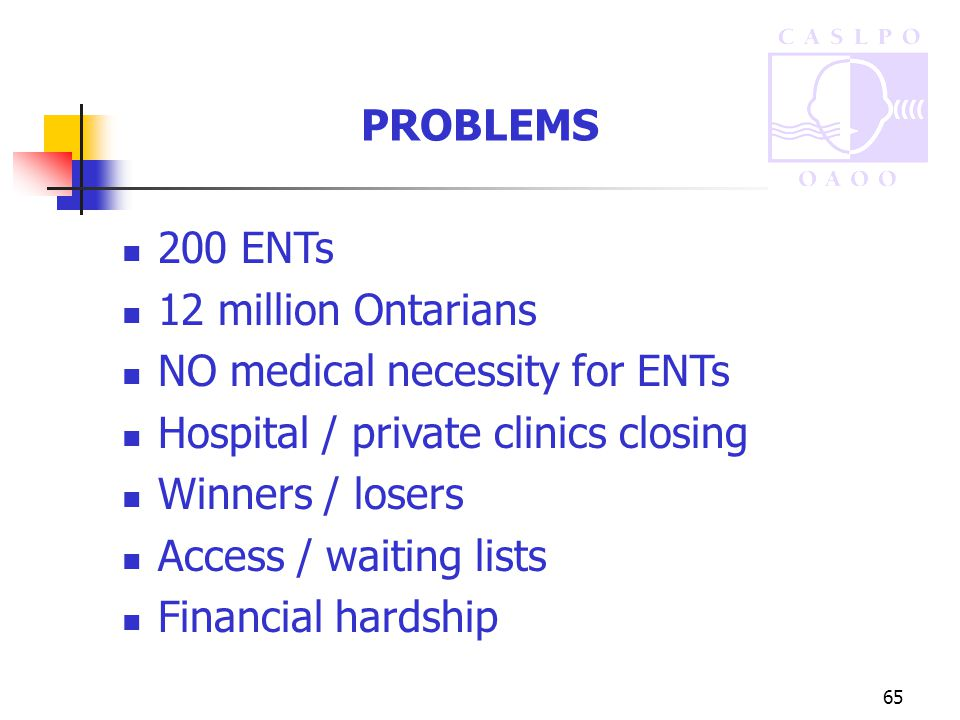 65 PROBLEMS 200 ENTs 12 million Ontarians NO medical necessity for ENTs Hospital / private clinics closing Winners / losers Access / waiting lists Financial hardship
