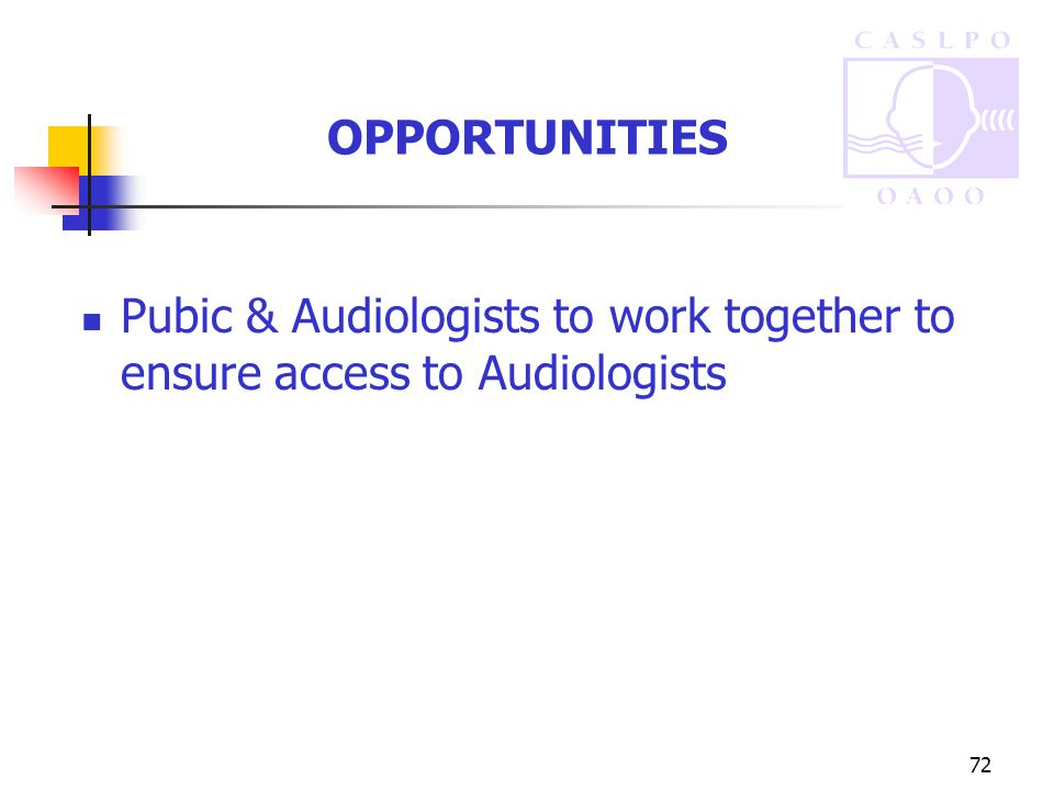 72 OPPORTUNITIES Pubic & Audiologists to work together to ensure access to Audiologists