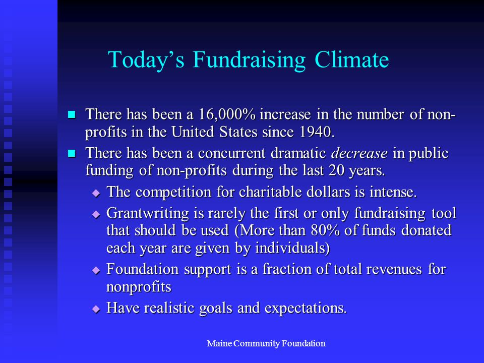 Maine Community Foundation Today's Fundraising Climate There has been a 16,000% increase in the number of non- profits in the United States since 1940.