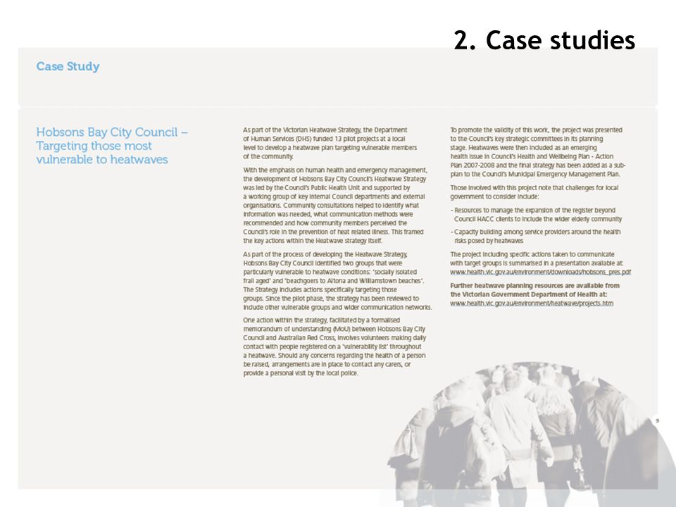 Insert case study example – Hobsons Bay 2. Case studies