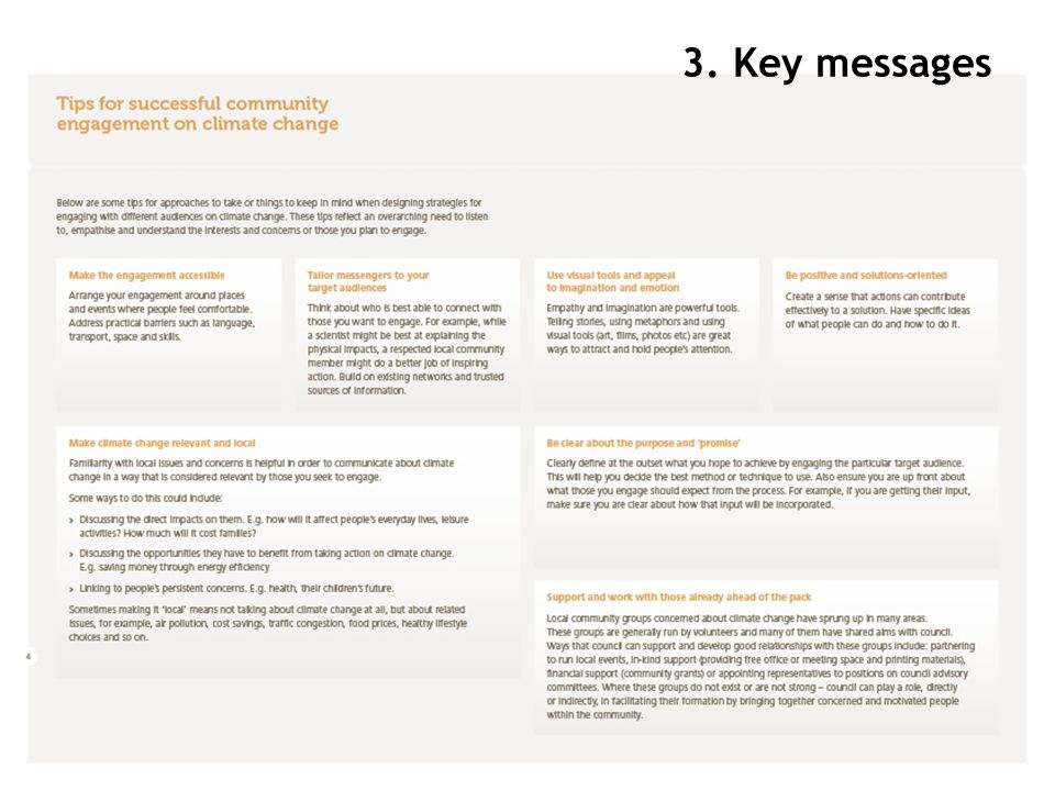 3. Key messages