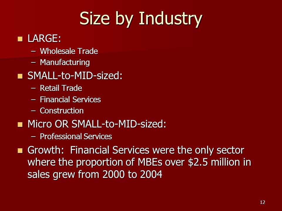 12 Size by Industry LARGE: LARGE: –Wholesale Trade –Manufacturing SMALL-to-MID-sized: SMALL-to-MID-sized: –Retail Trade –Financial Services –Construction Micro OR SMALL-to-MID-sized: Micro OR SMALL-to-MID-sized: –Professional Services Growth: Financial Services were the only sector where the proportion of MBEs over $2.5 million in sales grew from 2000 to 2004 Growth: Financial Services were the only sector where the proportion of MBEs over $2.5 million in sales grew from 2000 to 2004