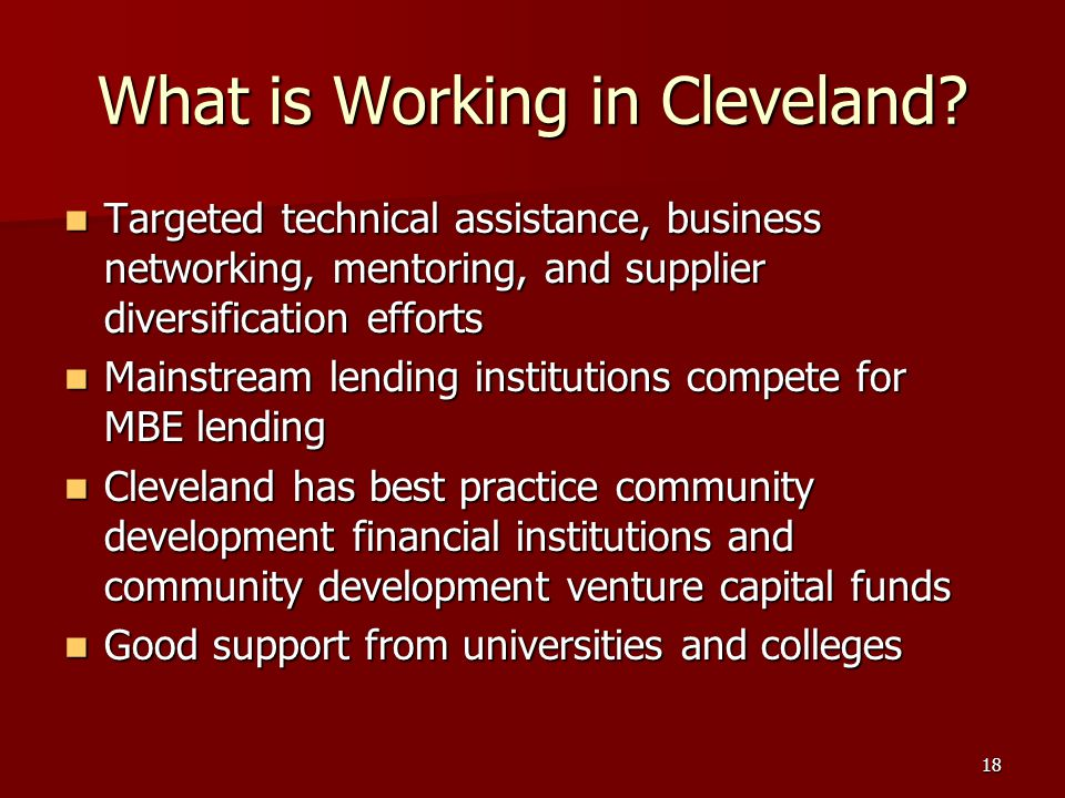 18 What is Working in Cleveland.