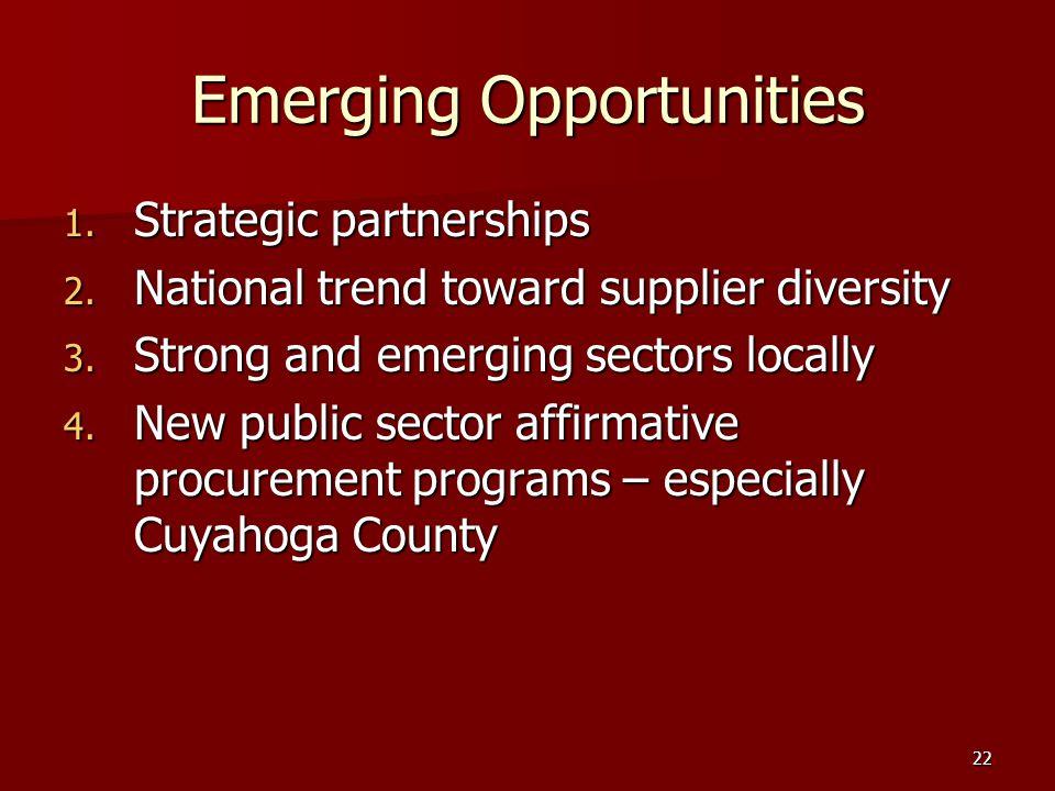 22 Emerging Opportunities 1. Strategic partnerships 2.