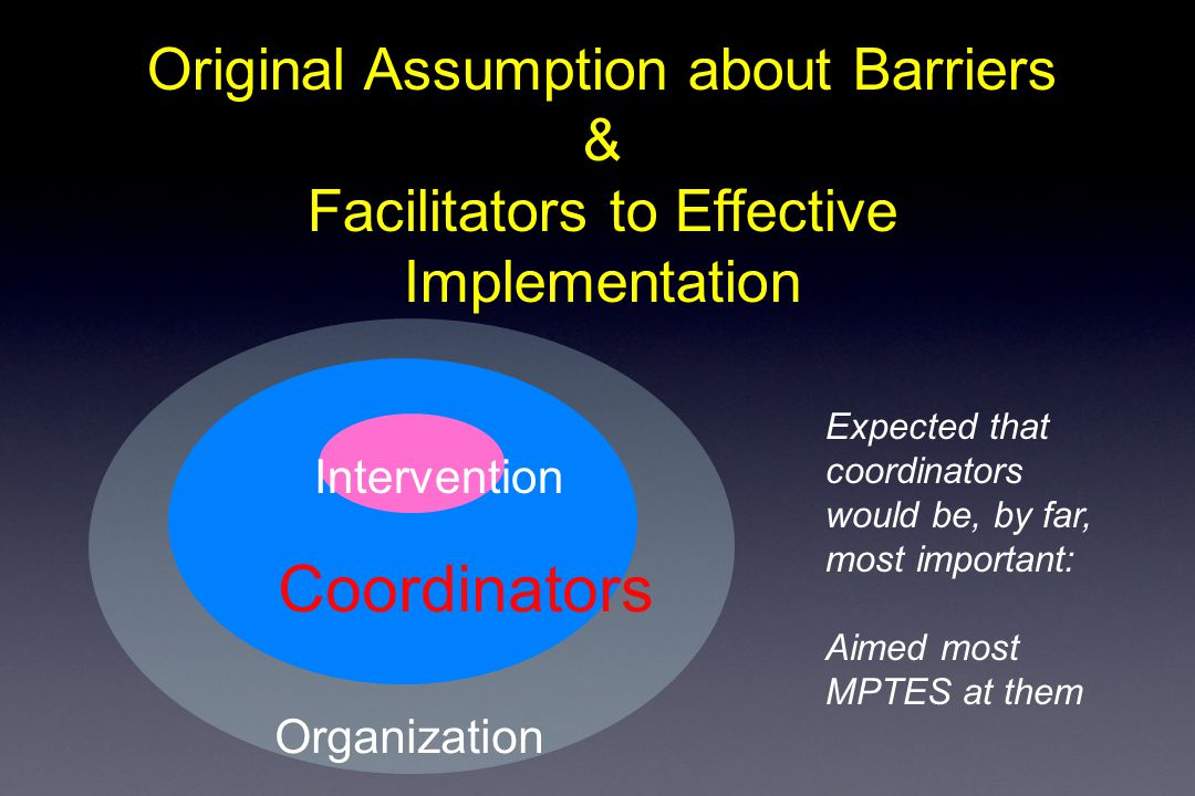 Coordinators Organization Original Assumption about Barriers & Facilitators to Effective Implementation Intervention Expected that coordinators would be, by far, most important: Aimed most MPTES at them
