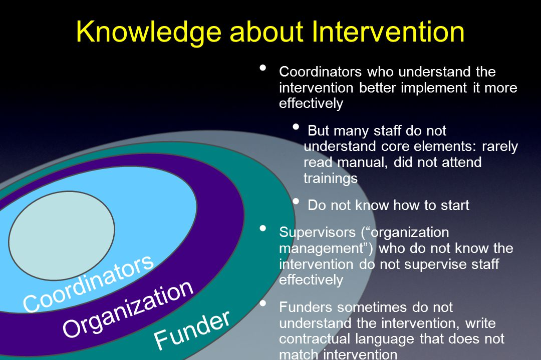 Knowledge about Intervention Funder Organization Coordinators Coordinators who understand the intervention better implement it more effectively But many staff do not understand core elements: rarely read manual, did not attend trainings Do not know how to start Supervisors ( organization management ) who do not know the intervention do not supervise staff effectively Funders sometimes do not understand the intervention, write contractual language that does not match intervention