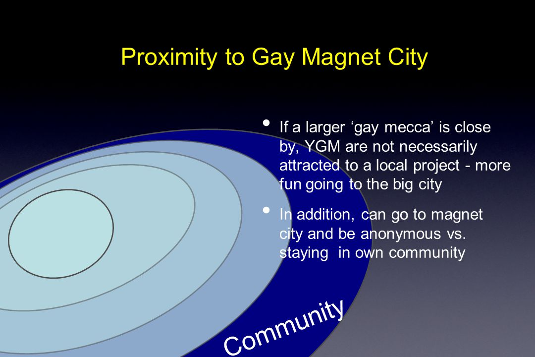 Proximity to Gay Magnet City Community If a larger 'gay mecca' is close by, YGM are not necessarily attracted to a local project - more fun going to the big city In addition, can go to magnet city and be anonymous vs.