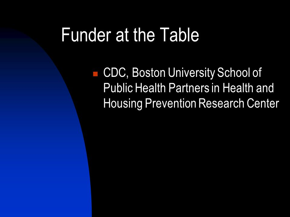 Funder at the Table CDC, Boston University School of Public Health Partners in Health and Housing Prevention Research Center