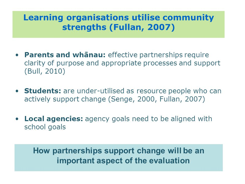 Parents and whānau: effective partnerships require clarity of purpose and appropriate processes and support (Bull, 2010) Students: are under-utilised as resource people who can actively support change (Senge, 2000, Fullan, 2007) Local agencies: agency goals need to be aligned with school goals Learning organisations utilise community strengths (Fullan, 2007) How partnerships support change will be an important aspect of the evaluation