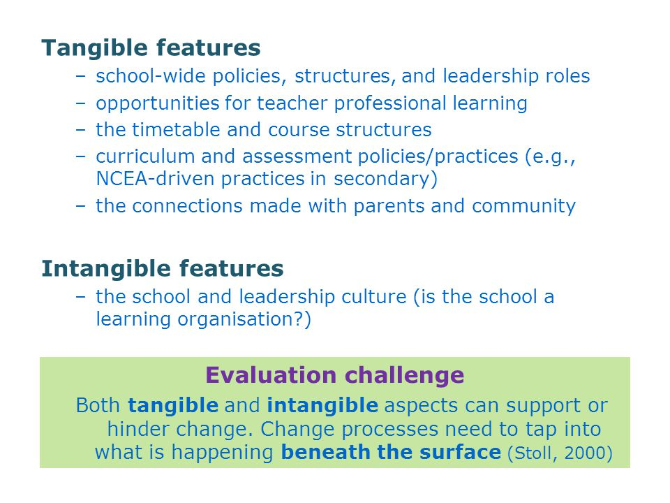 Tangible features –school-wide policies, structures, and leadership roles –opportunities for teacher professional learning –the timetable and course structures –curriculum and assessment policies/practices (e.g., NCEA-driven practices in secondary) –the connections made with parents and community Intangible features –the school and leadership culture (is the school a learning organisation?) Evaluation challenge Both tangible and intangible aspects can support or hinder change.