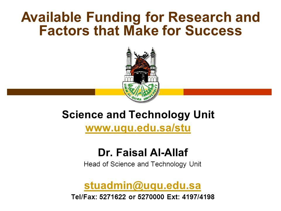 Science and Technology Unit www.uqu.edu.sa/stu www.uqu.edu.sa/stu Dr.
