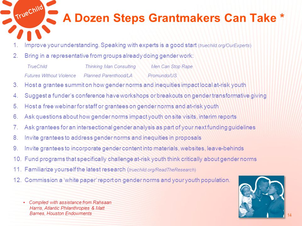 A Dozen Steps Grantmakers Can Take * 14 1.Improve your understanding.