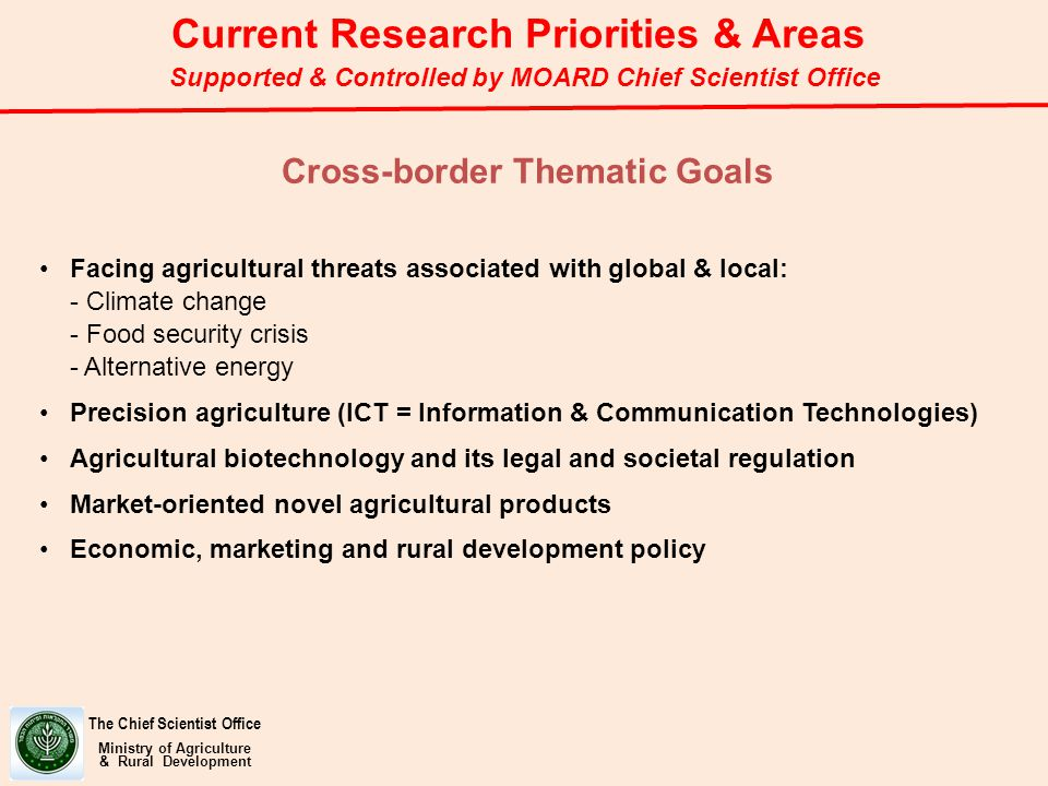 Facing agricultural threats associated with global & local: - Climate change - Food security crisis - Alternative energy Precision agriculture (ICT = Information & Communication Technologies) Agricultural biotechnology and its legal and societal regulation Market-oriented novel agricultural products Economic, marketing and rural development policy The Chief Scientist Office Ministry of Agriculture & Rural Development Cross-border Thematic Goals Current Research Priorities & Areas Supported & Controlled by MOARD Chief Scientist Office