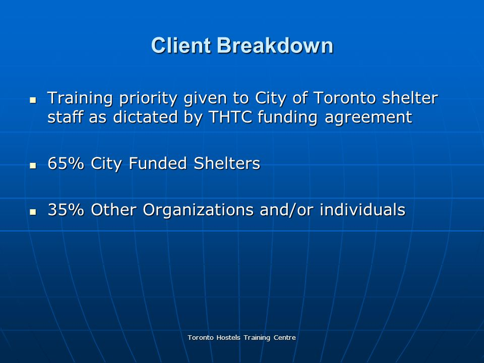 Toronto Hostels Training Centre Client Breakdown Training priority given to City of Toronto shelter staff as dictated by THTC funding agreement Training priority given to City of Toronto shelter staff as dictated by THTC funding agreement 65% City Funded Shelters 65% City Funded Shelters 35% Other Organizations and/or individuals 35% Other Organizations and/or individuals