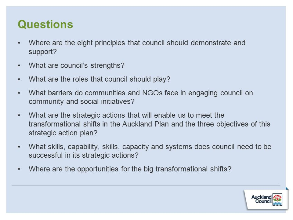 Questions Where are the eight principles that council should demonstrate and support.