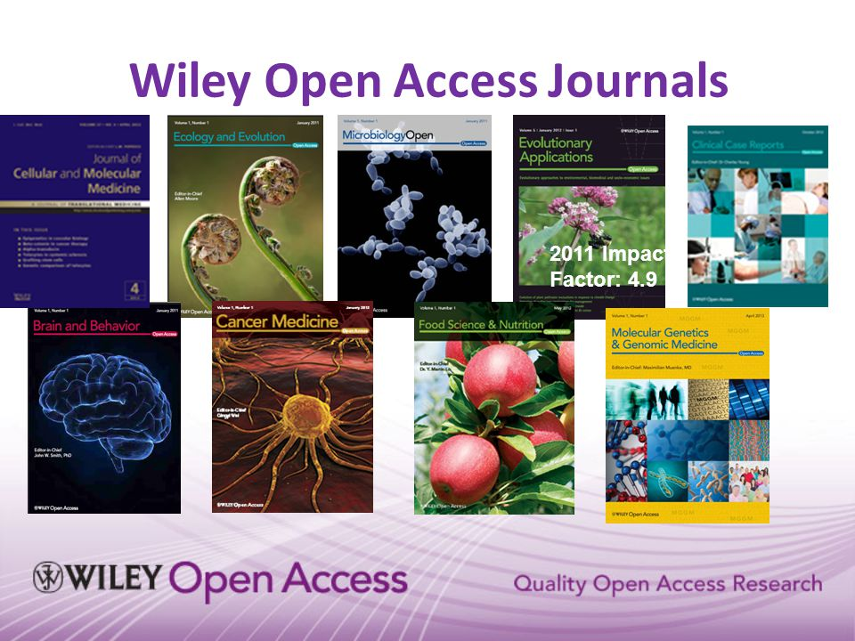 Society/Co-Owned OA Journals 2011 Impact Factor: 10.3