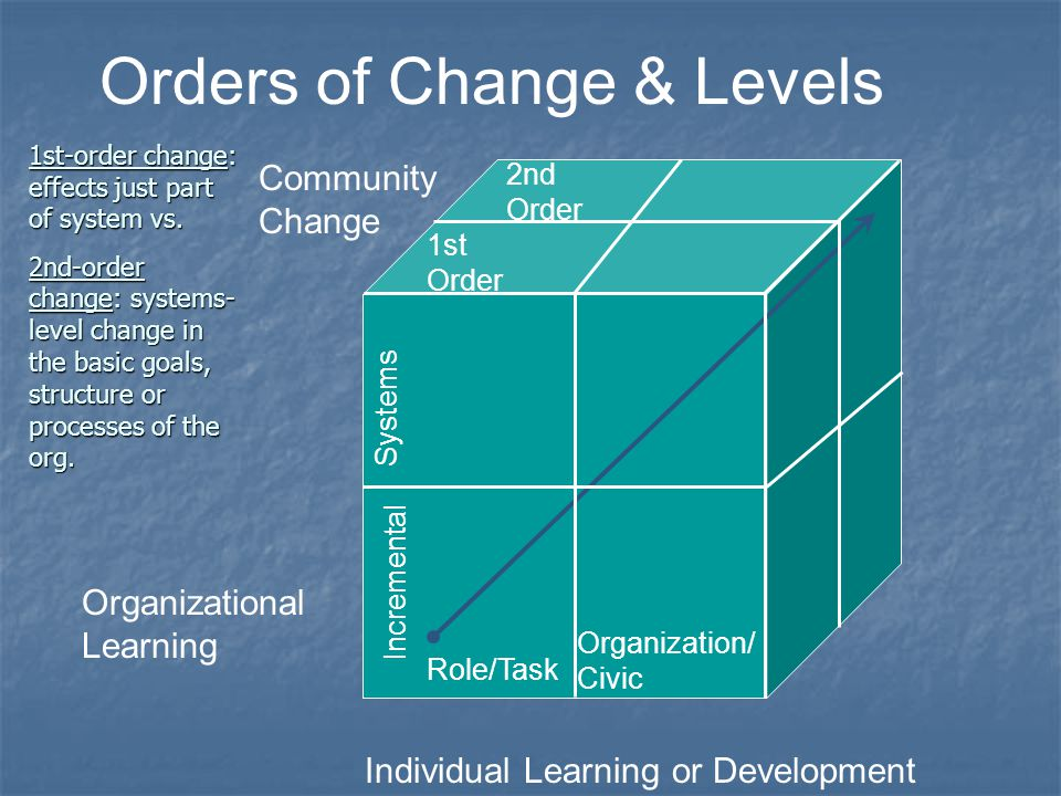 Individual Learning or Development Organizational Learning Community Change Orders of Change & Levels 1st Order Incremental 2nd Order Systems Organiza