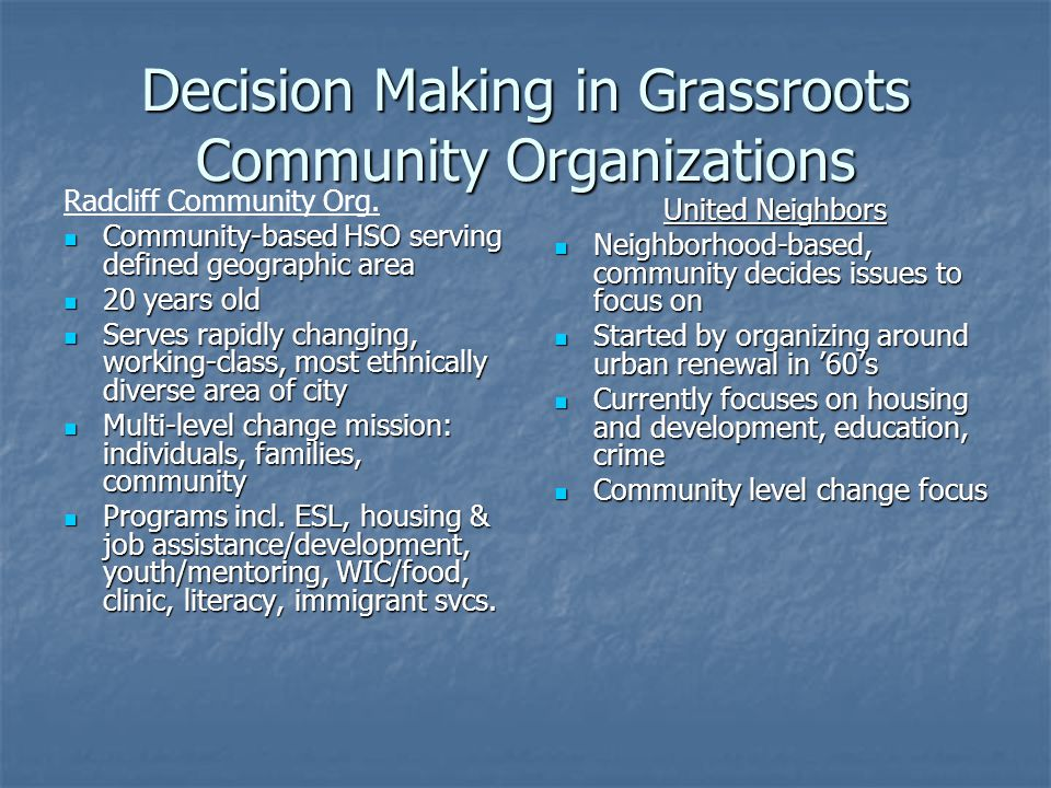 Decision Making in Grassroots Community Organizations Radcliff Community Org. Community-based HSO serving defined geographic area Community-based HSO