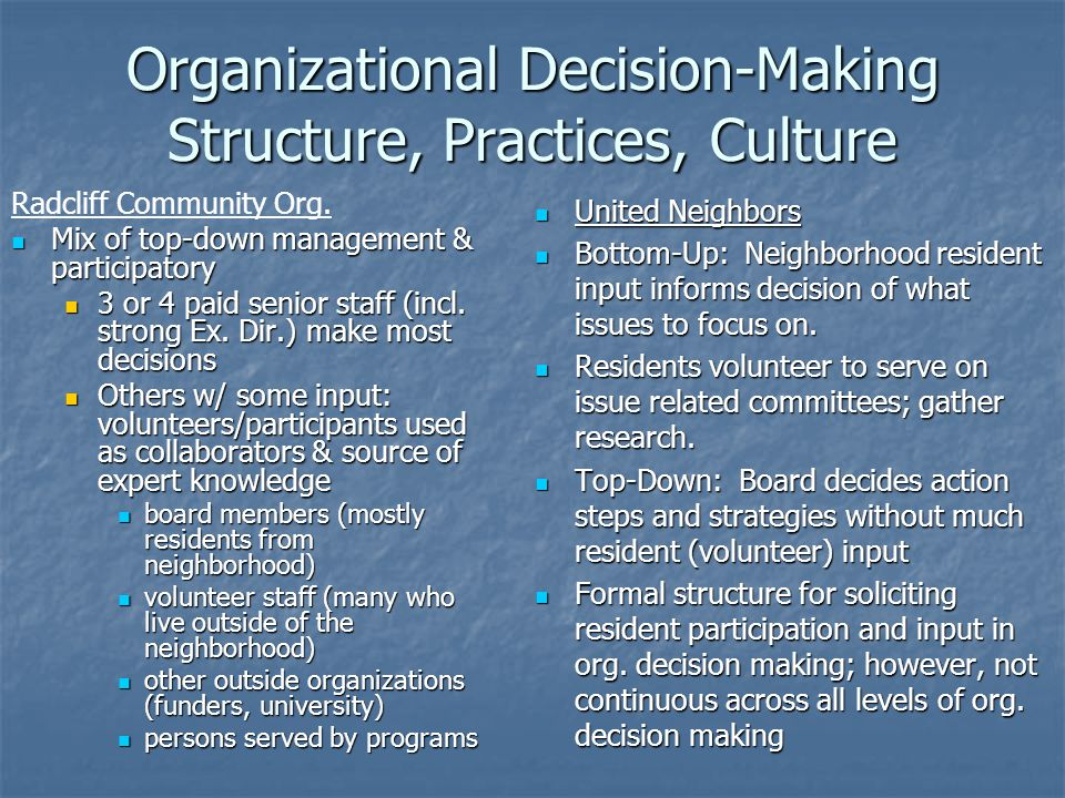 Organizational Decision-Making Structure, Practices, Culture Radcliff Community Org. Mix of top-down management & participatory Mix of top-down manage