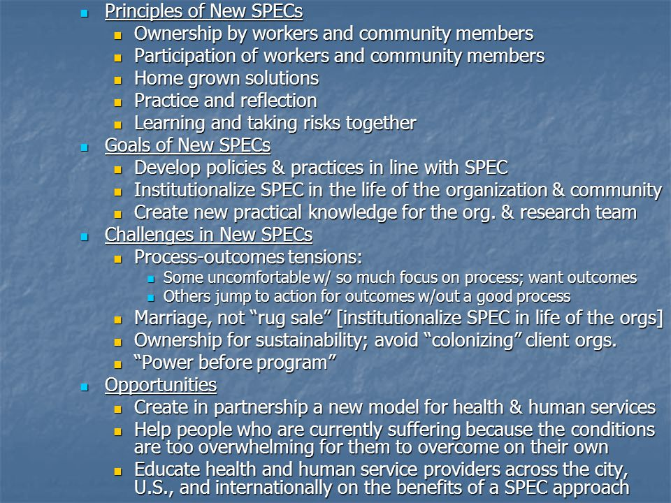 Principles of New SPECs Principles of New SPECs Ownership by workers and community members Ownership by workers and community members Participation of