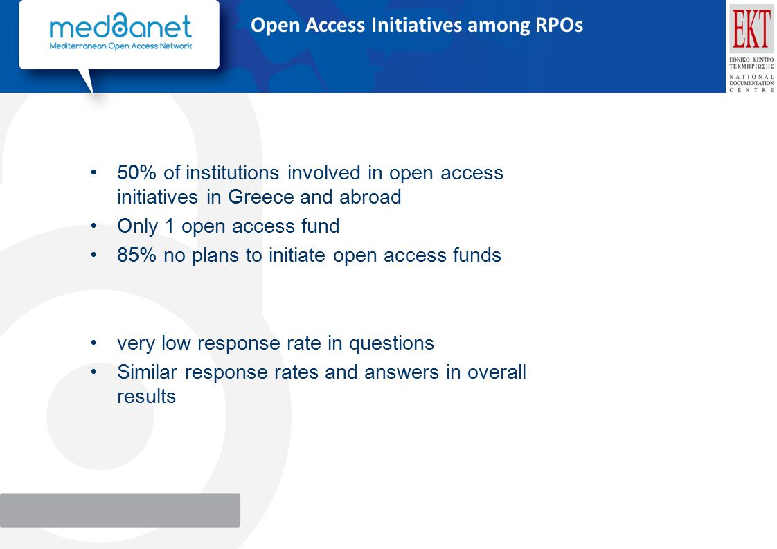 Open Access Initiatives among RPOs 50% of institutions involved in open access initiatives in Greece and abroad Only 1 open access fund 85% no plans to initiate open access funds very low response rate in questions Similar response rates and answers in overall results