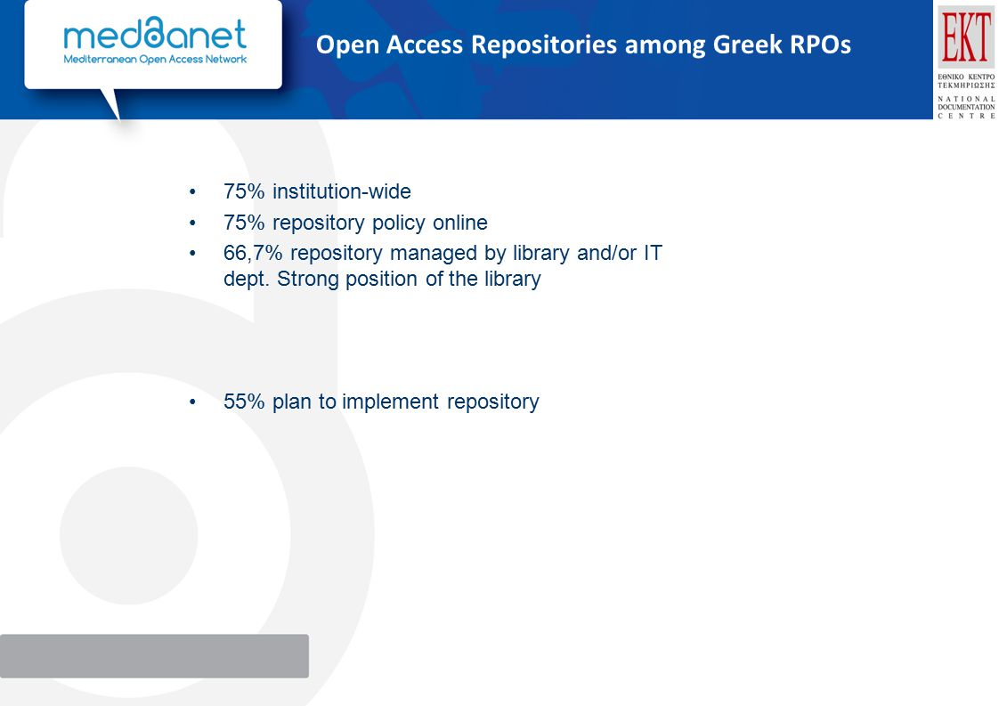 Open Access Repositories among Greek RPOs 75% institution-wide 75% repository policy online 66,7% repository managed by library and/or IT dept.