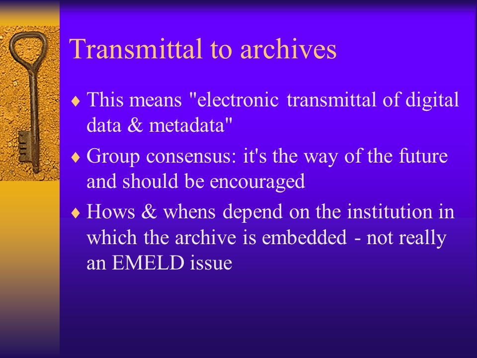Transmittal to archives II Gary S.