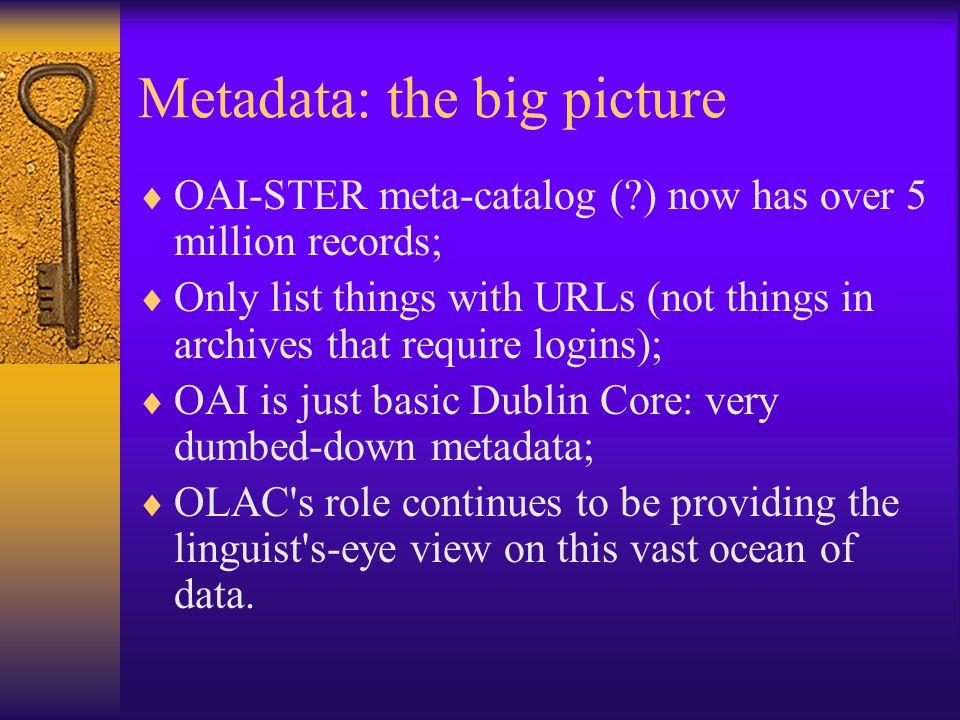 Metadata - Standards  We have a standard for metadata: the OLAC schema.