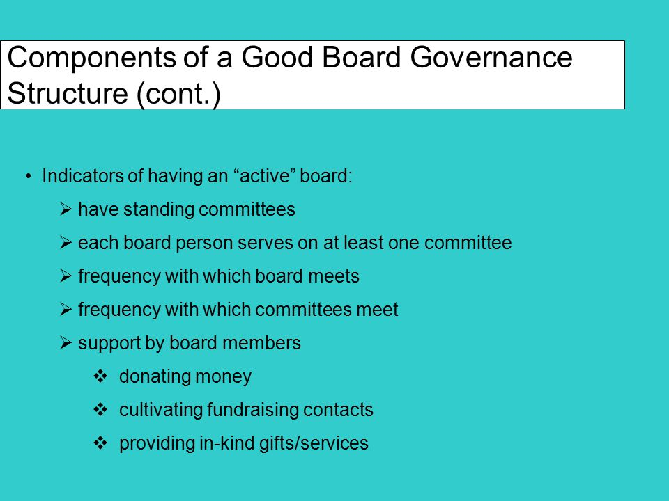 Components of a Good Board Governance Structure (cont.) Indicators of having an organized board:  written mission statement  written vision statement  written values statement  written conflict of interest policy  written strategic plan for organization  written whistle blower policy