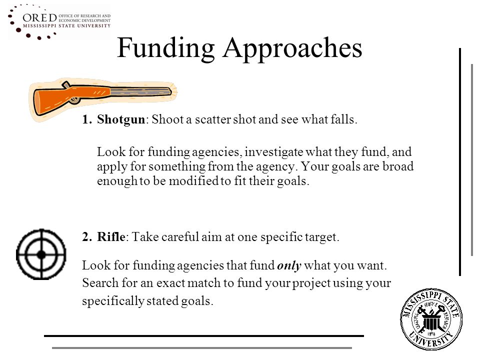 Funding Approaches 1.Shotgun: Shoot a scatter shot and see what falls. Look for funding agencies, investigate what they fund, and apply for something