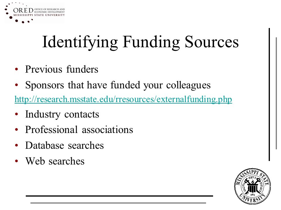 Types of Funding Government - Federal, State, Local – 26 Federal Agencies (900 programs) Grants.gov - http://www07.grants.gov/index.jsphttp://www07.grants.gov/index.jsp Foundations Second-largest source – 900,000 State Agencies Direct Industry/Corporations