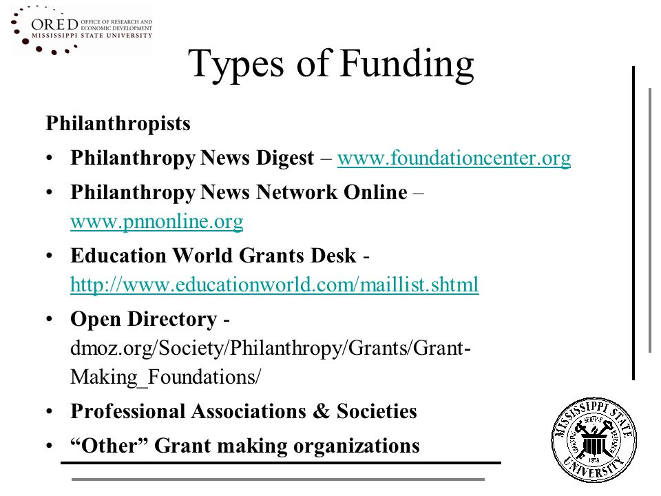 Types of Funding Philanthropists Philanthropy News Digest – www.foundationcenter.orgwww.foundationcenter.org Philanthropy News Network Online – www.pnnonline.org www.pnnonline.org Education World Grants Desk - http://www.educationworld.com/maillist.shtml http://www.educationworld.com/maillist.shtml Open Directory - dmoz.org/Society/Philanthropy/Grants/Grant- Making_Foundations/ Professional Associations & Societies Other Grant making organizations
