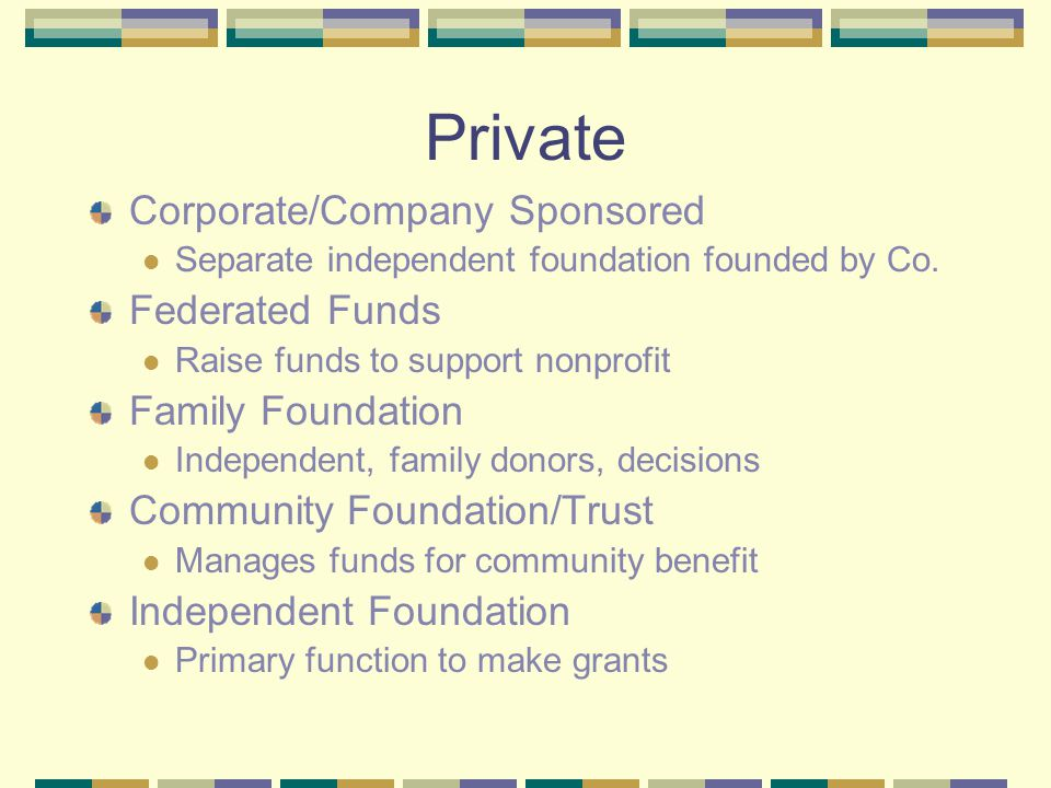 Private Corporate/Company Sponsored Separate independent foundation founded by Co. Federated Funds Raise funds to support nonprofit Family Foundation