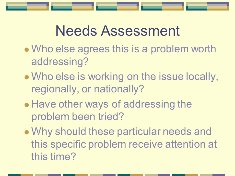 Needs Assessment Who else agrees this is a problem worth addressing? Who else is working on the issue locally, regionally, or nationally? Have other w