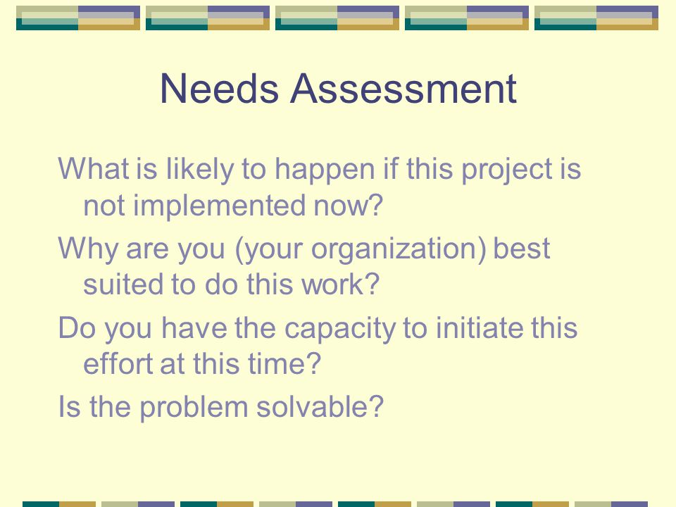 Needs Assessment What is likely to happen if this project is not implemented now? Why are you (your organization) best suited to do this work? Do you