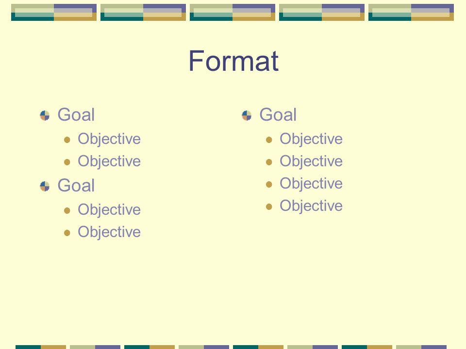 Format Goal Objective Goal Objective Goal Objective