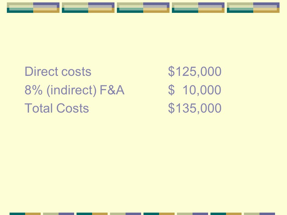 Direct costs$125,000 8% (indirect) F&A$ 10,000 Total Costs$135,000