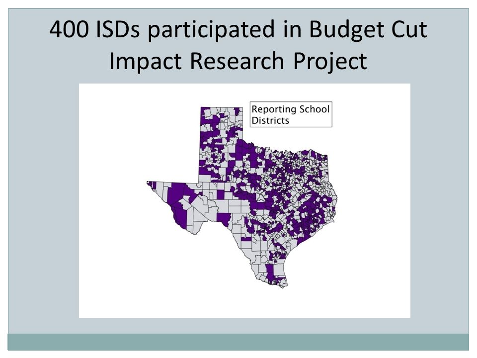 400 ISDs participated in Budget Cut Impact Research Project