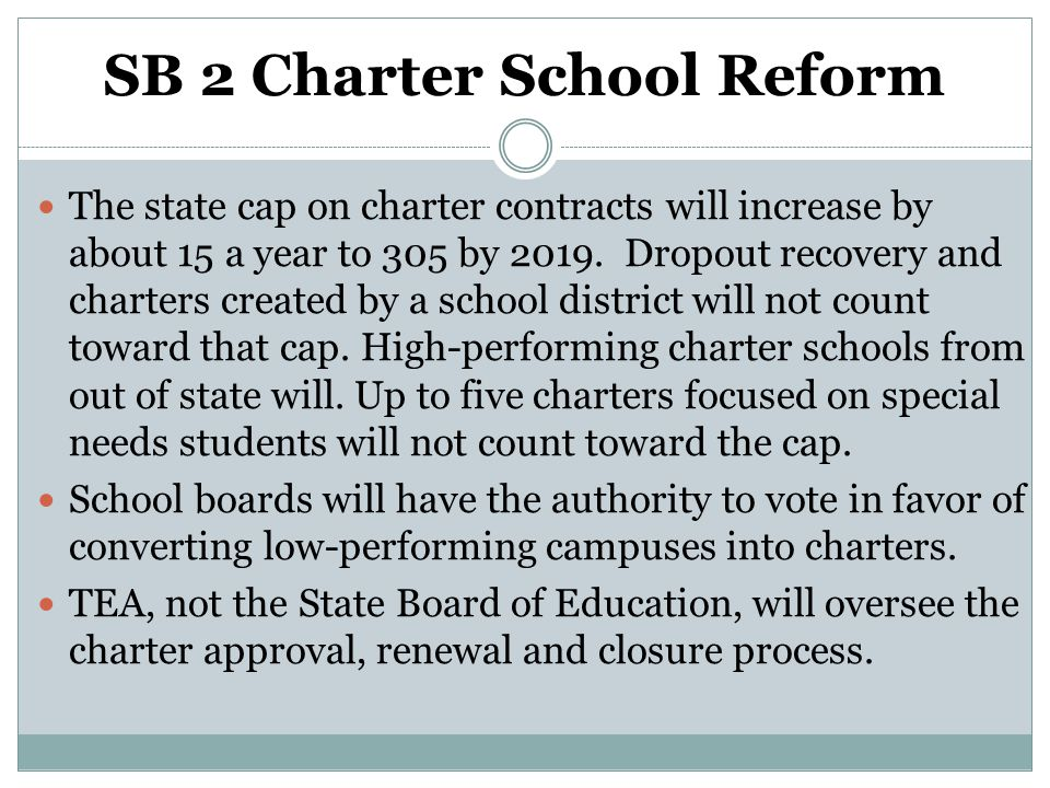 SB 2 Charter School Reform The state cap on charter contracts will increase by about 15 a year to 305 by 2019. Dropout recovery and charters created b