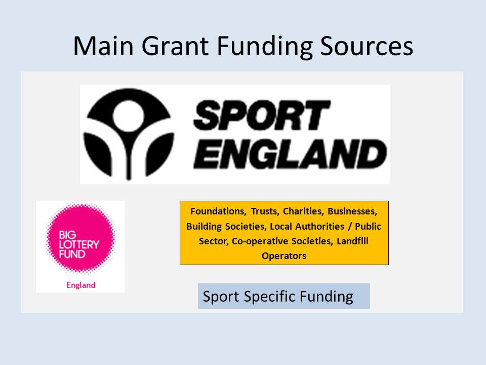 Main Grant Funding Sources Sport Specific Funding Foundations, Trusts, Charities, Businesses, Building Societies, Local Authorities / Public Sector, Co-operative Societies, Landfill Operators