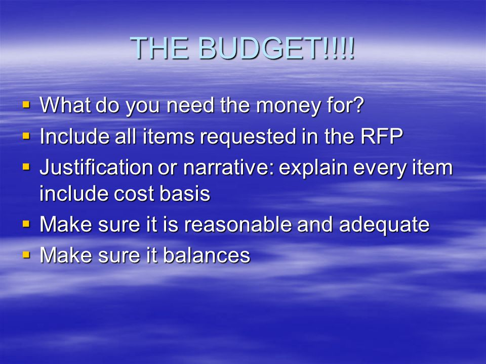 THE BUDGET!!!.  What do you need the money for.