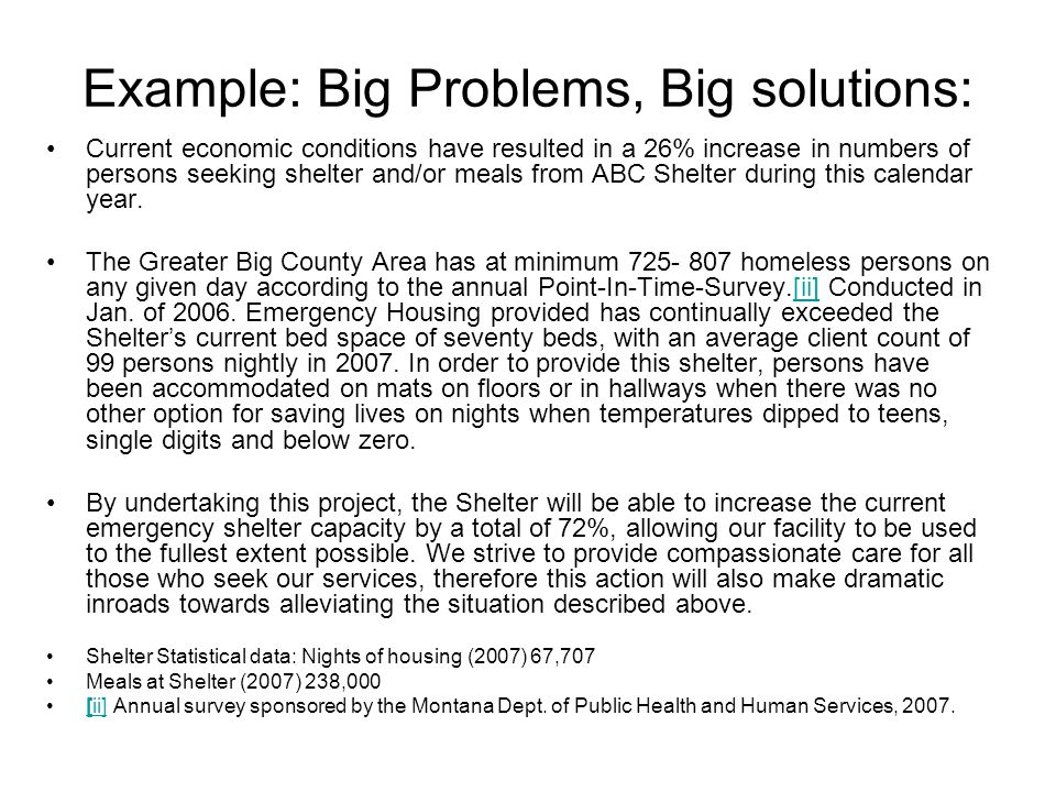 Example: Big Problems, Big solutions: Current economic conditions have resulted in a 26% increase in numbers of persons seeking shelter and/or meals from ABC Shelter during this calendar year.
