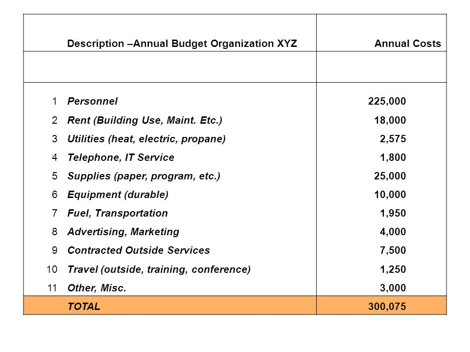 Description –Annual Budget Organization XYZAnnual Costs 1Personnel 225,000 2Rent (Building Use, Maint.