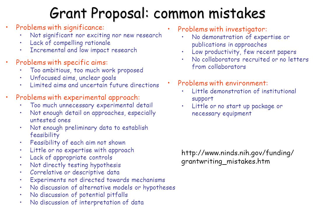 Grant Proposal: common mistakes Problems with significance: Not significant nor exciting nor new research Lack of compelling rationale Incremental and low impact research Problems with specific aims: Too ambitious, too much work proposed Unfocused aims, unclear goals Limited aims and uncertain future directions Problems with experimental approach: Too much unnecessary experimental detail Not enough detail on approaches, especially untested ones Not enough preliminary data to establish feasibility Feasibility of each aim not shown Little or no expertise with approach Lack of appropriate controls Not directly testing hypothesis Correlative or descriptive data Experiments not directed towards mechanisms No discussion of alternative models or hypotheses No discussion of potential pitfalls No discussion of interpretation of data Problems with investigator: No demonstration of expertise or publications in approaches Low productivity, few recent papers No collaborators recruited or no letters from collaborators Problems with environment: Little demonstration of institutional support Little or no start up package or necessary equipment http://www.ninds.nih.gov/funding/ grantwriting_mistakes.htm