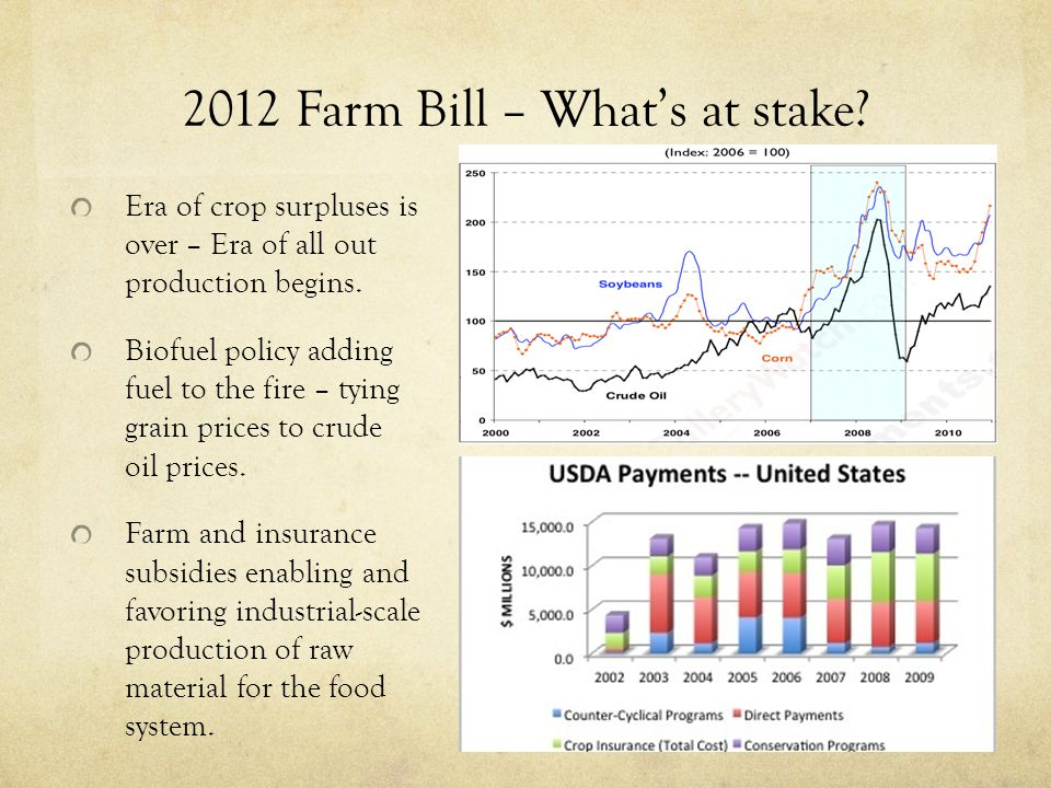 2012 Farm Bill – What's at stake? Era of crop surpluses is over – Era of all out production begins. Biofuel policy adding fuel to the fire – tying gra