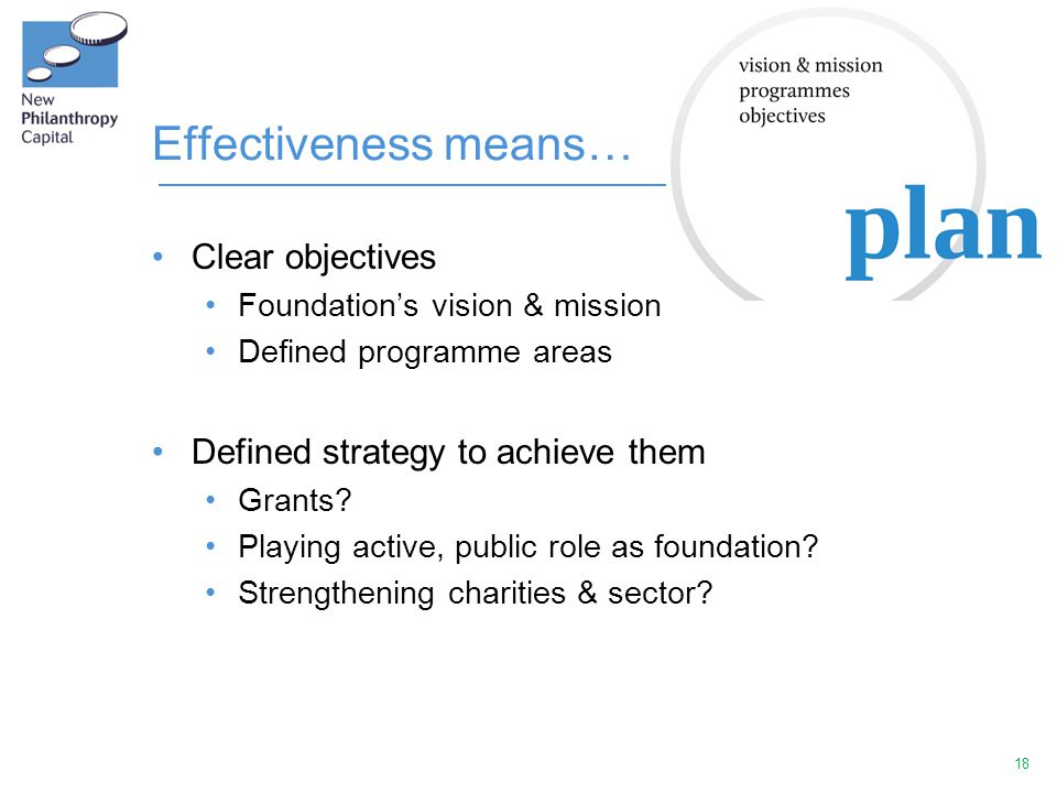 18 Effectiveness means… Clear objectives Foundation's vision & mission Defined programme areas Defined strategy to achieve them Grants? Playing active