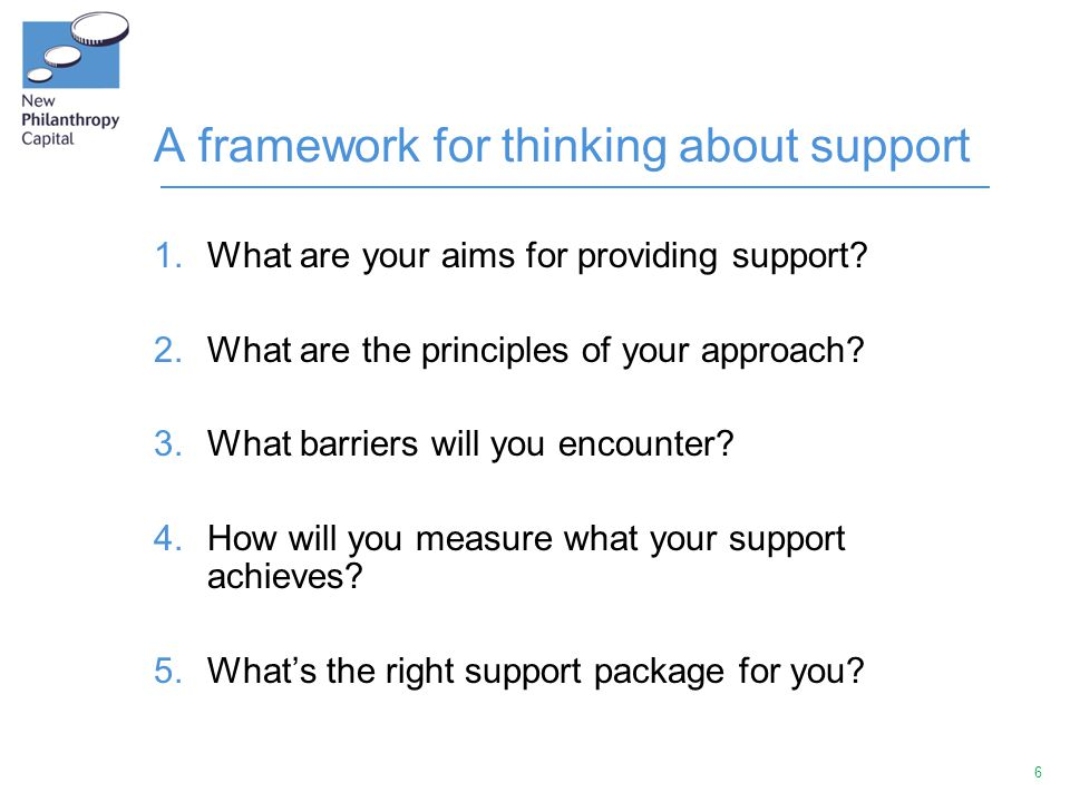 6 A framework for thinking about support 1.What are your aims for providing support? 2.What are the principles of your approach? 3.What barriers will